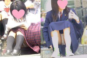座りパンチラを対面盗撮される美少女制服JK