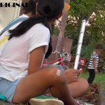 日焼けした健康的な女子中学生のショーパンハミパンチラ