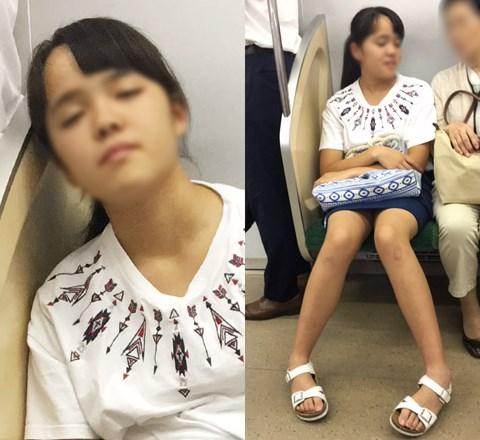 【盗撮バレ】カメラに気付いた瞬間に寝たふり→薄っすら目を開けて警戒する私服JK