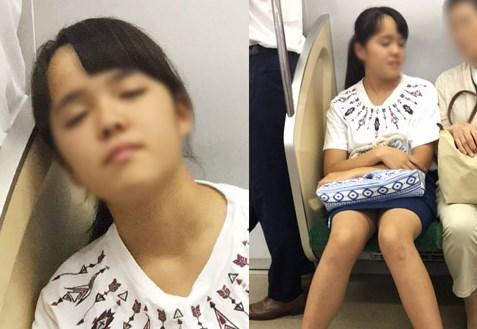 【盗撮バレ】カメラに気付いた瞬間に寝たふり→薄っすら目を開けて警戒する私服JK 【レビュー】