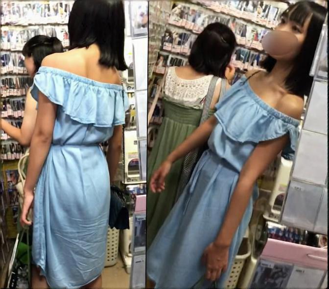 友達とお買い物中の肩出しロングワンピース女子にカメラ突っ込んでみた