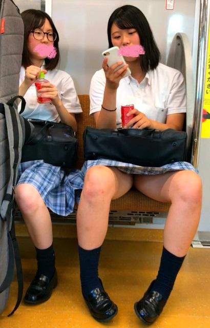 電車通学中の2人組の夏服JKちゃん、お股をおっぴろげパンチラを対面盗撮されるw(太ももンゴ:エチエチ!vol.9)