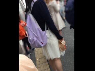 カリ:坂系JDちゃん、スカート裏地がずり上ってパンツが透け透け状態に!【Pcolleレビュー】
