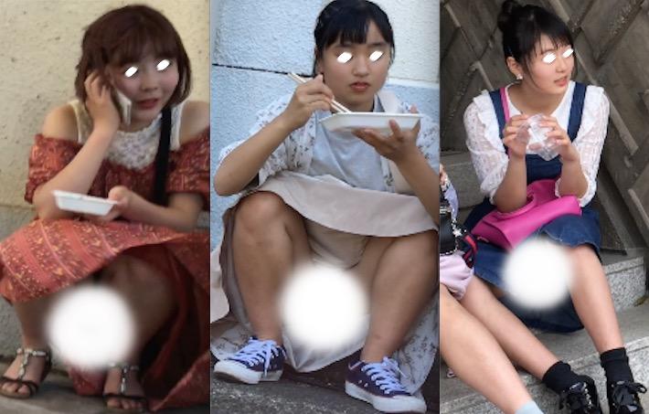 大股開きで食事中の私服JKのスカートの中ががっつり丸見え&しゃがみ風パンチラ(MM:妄想vol.138)